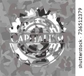 capitalism on grey camouflaged... | Shutterstock .eps vector #736512379