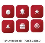 simple red christmas icon set  | Shutterstock .eps vector #736525060