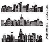 city skyline silhouette set | Shutterstock .eps vector #736527688
