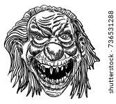scary cartoon clown... | Shutterstock .eps vector #736531288