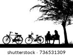 silhouette vintage bike and... | Shutterstock . vector #736531309
