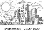 hand drawn city sketch for your ... | Shutterstock .eps vector #736541020