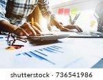 close up business man using... | Shutterstock . vector #736541986