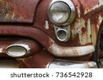 cracked headlight and chipped...   Shutterstock . vector #736542928