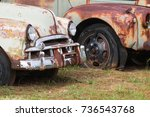 rusted autos sit in a north...   Shutterstock . vector #736543768