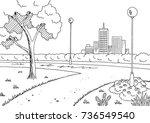park graphic black white lamp... | Shutterstock .eps vector #736549540