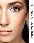 closeup macro portrait of... | Shutterstock . vector #736553218
