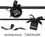 Decorative horizontal black ribbon with bow and sale tag for black friday sale design. Vector decoration and label | Shutterstock vector #736556284