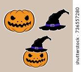 pumpkin  halloween night | Shutterstock .eps vector #736557280