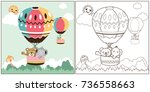 vector cartoon of hot air... | Shutterstock .eps vector #736558663