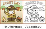 vector cartoon of scout day ... | Shutterstock .eps vector #736558690