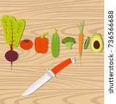 set of vegetables and knife on... | Shutterstock .eps vector #736566688