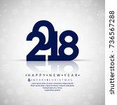 happy new year creative 2018... | Shutterstock .eps vector #736567288