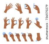 various gestures of black human ... | Shutterstock .eps vector #736570279