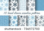 snowflake patterns vector...   Shutterstock .eps vector #736572703