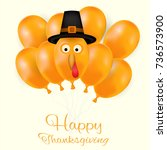 happy thanksgiving day... | Shutterstock .eps vector #736573900