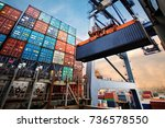 container loading in a cargo... | Shutterstock . vector #736578550