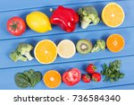 healthy ripe fruits and... | Shutterstock . vector #736584340