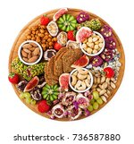 mix fruits and nuts  healthy... | Shutterstock . vector #736587880