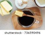 bulletproof coffee  blended...   Shutterstock . vector #736590496