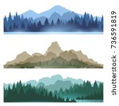 foggy mountains landscape set... | Shutterstock .eps vector #736591819