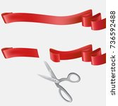 whole and cut with scissors on... | Shutterstock .eps vector #736592488