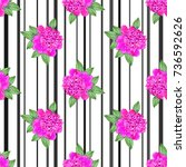 pink peony. seamless pattern... | Shutterstock .eps vector #736592626