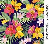 tropical flowers seamless... | Shutterstock .eps vector #736595356