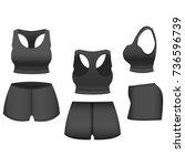 realistic template blank black... | Shutterstock .eps vector #736596739