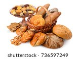 variety bread products  buns ... | Shutterstock . vector #736597249