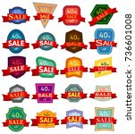 set of twenty discount stickers.... | Shutterstock .eps vector #736601008