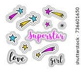 girl stickers  stars  firework  ...   Shutterstock .eps vector #736601650