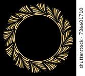 decorative line art frame for... | Shutterstock . vector #736601710