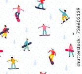 snowboarding seamless pattern... | Shutterstock .eps vector #736602139
