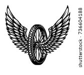 wheel with wings. design... | Shutterstock .eps vector #736604188