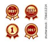 red ribbon awards best seller...   Shutterstock .eps vector #736611214