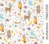 seamless pattern with cute... | Shutterstock .eps vector #736611520