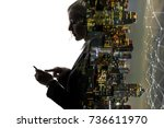 mobile communication network... | Shutterstock . vector #736611970