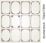 vintage frame set on pattern... | Shutterstock .eps vector #736617304