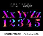 colorful bright neon typeset.... | Shutterstock .eps vector #736617826