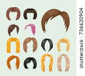 set of woman hair styling... | Shutterstock .eps vector #736620904