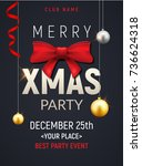 christmas party poster template.... | Shutterstock .eps vector #736624318