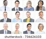portrait of multiethnic diverse ... | Shutterstock . vector #736626103