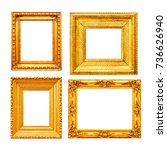 empty gold painting frame set... | Shutterstock . vector #736626940