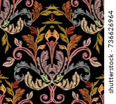 embroidery baroque vector... | Shutterstock .eps vector #736626964