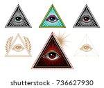 lluminati symbols. all seeing... | Shutterstock .eps vector #736627930