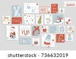 christmas advent calendar  cute ...   Shutterstock .eps vector #736632019