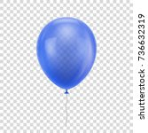 blue realistic balloon. blue... | Shutterstock .eps vector #736632319