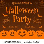 scary halloween party  ... | Shutterstock .eps vector #736634659