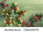 decorative christmas star with... | Shutterstock . vector #736635070